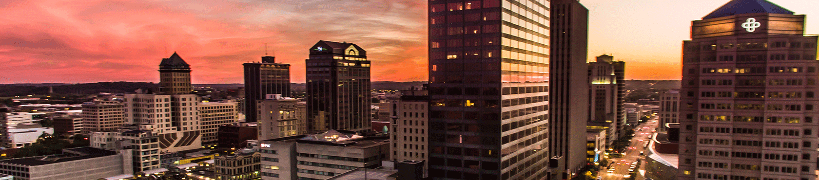 Dayton skyline at sunset